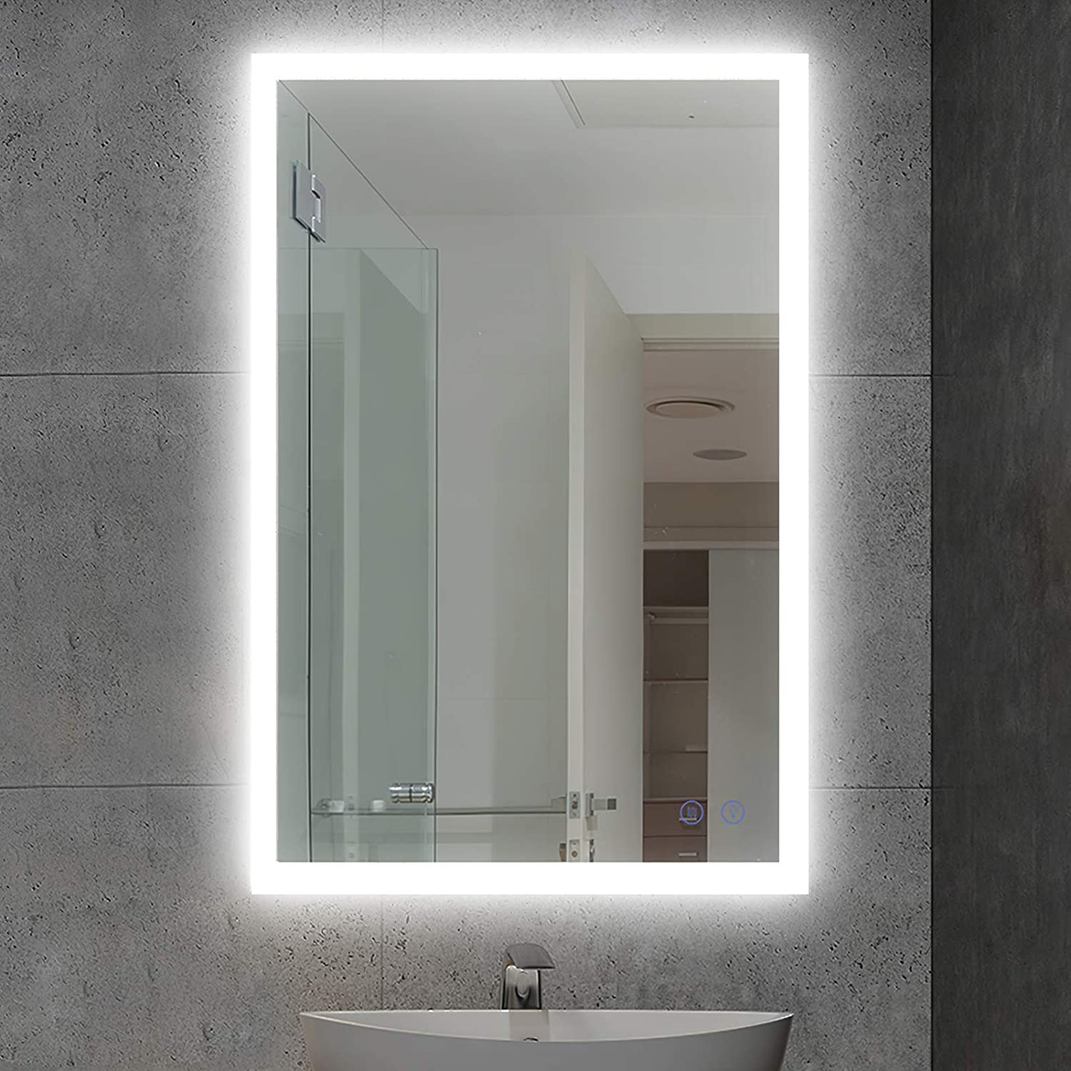 Amazon Com Citymoda 28x20 Inch Lighted Bathroom Makeup Mirror Led Wall Mount Frameless Rectangle Smart Bathroom Vanity Mirror With Touch Button Dimmable Horizontal Vertical Anti Fog Change Color Temperature