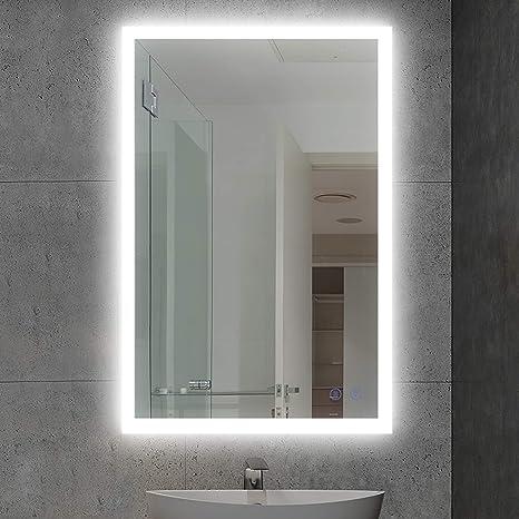 LED Wall Mounted Backlit Mirror Bathroom Vanity Makeup Mirror Dimmable /&Anti Fog