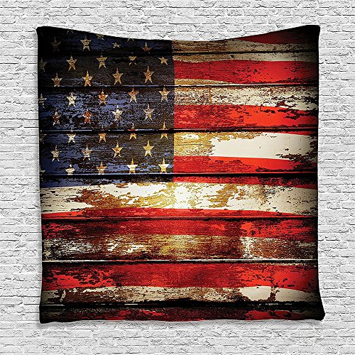 Old Weathered Wool (SCOCICI Supersoft Fleece Throw Blanket American Flag Decor Us Symbolism over Old Rusty Tones Weathered Vintage Social Plank Artwork Multi 59 x 59)
