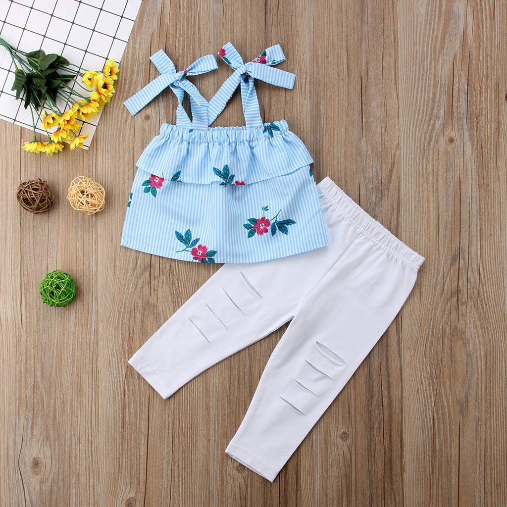 2019 Fashion Mommy &Me Baby Girl Floral Print Sleeveless Ruffles T-Shirt Tops Family Clothes Parent-Child Outfit by GIFC (Image #5)