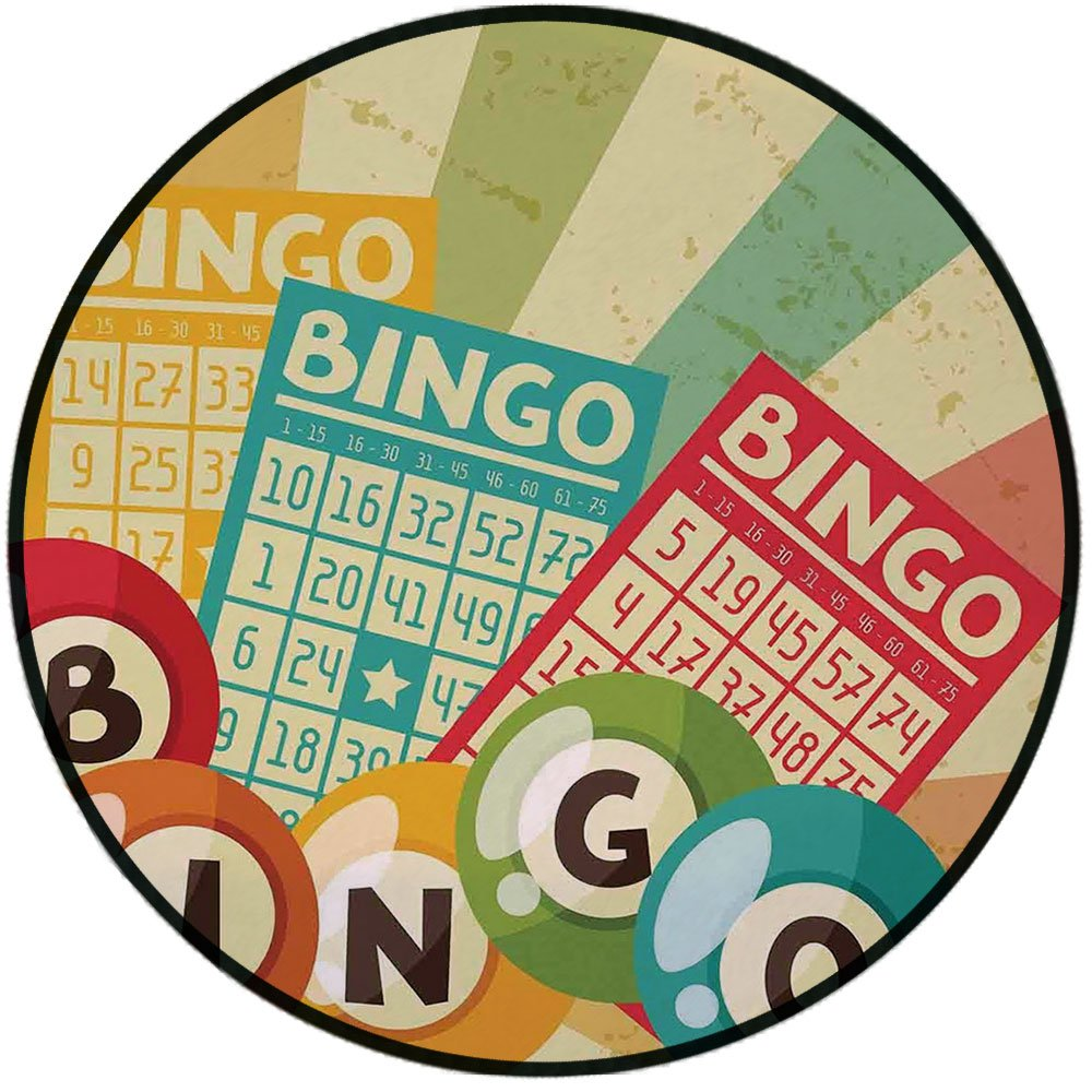 Printing Round Rug,Vintage Decor,Bingo Game with Ball and Cards Pop Art Stylized Lottery Hobby Celebration Theme Mat Non-Slip Soft Entrance Mat Door Floor Rug Area Rug For Chair Living Room,Multi