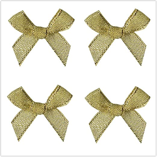 Gold//Silver Montip Lynn 100 Pcs Mini Ribbon Bows Crafts Party Decoration Gold Silver