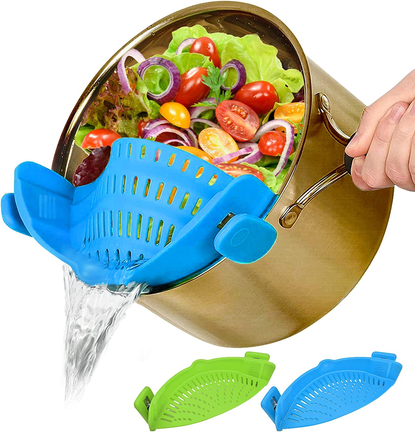 Food Mesh Strainers Fine Strainer 2 PACK, Clip-On Colander Rice Strain Sieve Sifter, Vegetable Silicone Drainer Filter Hands-Free Heat-Resistant for Kitchen All Pots Bowls, Pasta Ground Beef Spaghetti