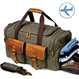 Canvas Weekender Reisetasche Leder Reisegepäck Duffle Bag Handgepäck Tasche Leather Wasserdicht für Herren Damen Armeegrün