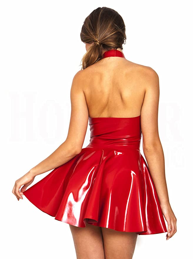 f4d245ade1 Red All The Rage PVC Leather Skater Dress Size 12 P819-2  Amazon.co.uk   Clothing