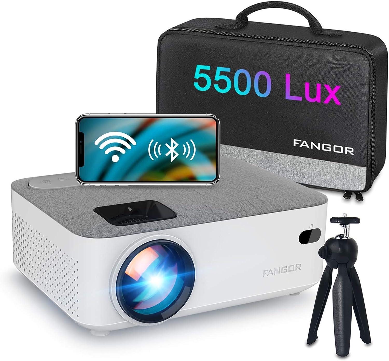 Proyector WiFi, FANGOR Mini Proyector Portátil Bluetooth Proyector 5500 lúmenes Proyector de Cine en casa Nativo 720P con Pantalla de 200