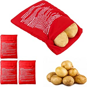 Reusable Microwave Potato Cooker Bag, Perfect Nice Size Baking Potatoes in Just 4 Minutes, Washable Fabric Microwave Potato Pouch Baking Bag Red, 4 Pack
