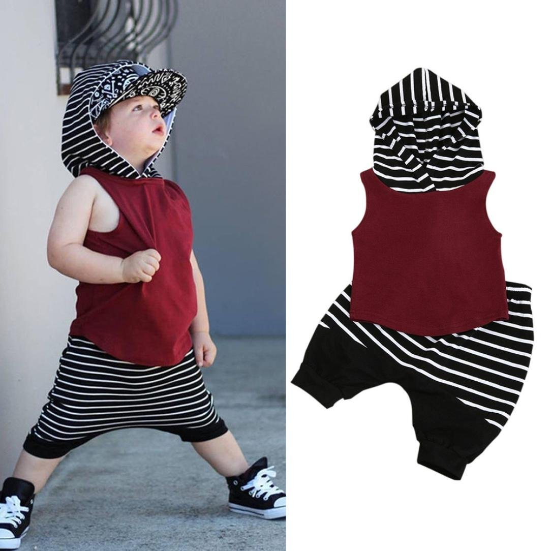 bce366d1a931 Amazon.com  Fanteecy Summer Baby Boy Clothes Toddler Kids Outfits  Sleeveless Hoodies Vest Tops+Striped Shorts Pants Set  Clothing