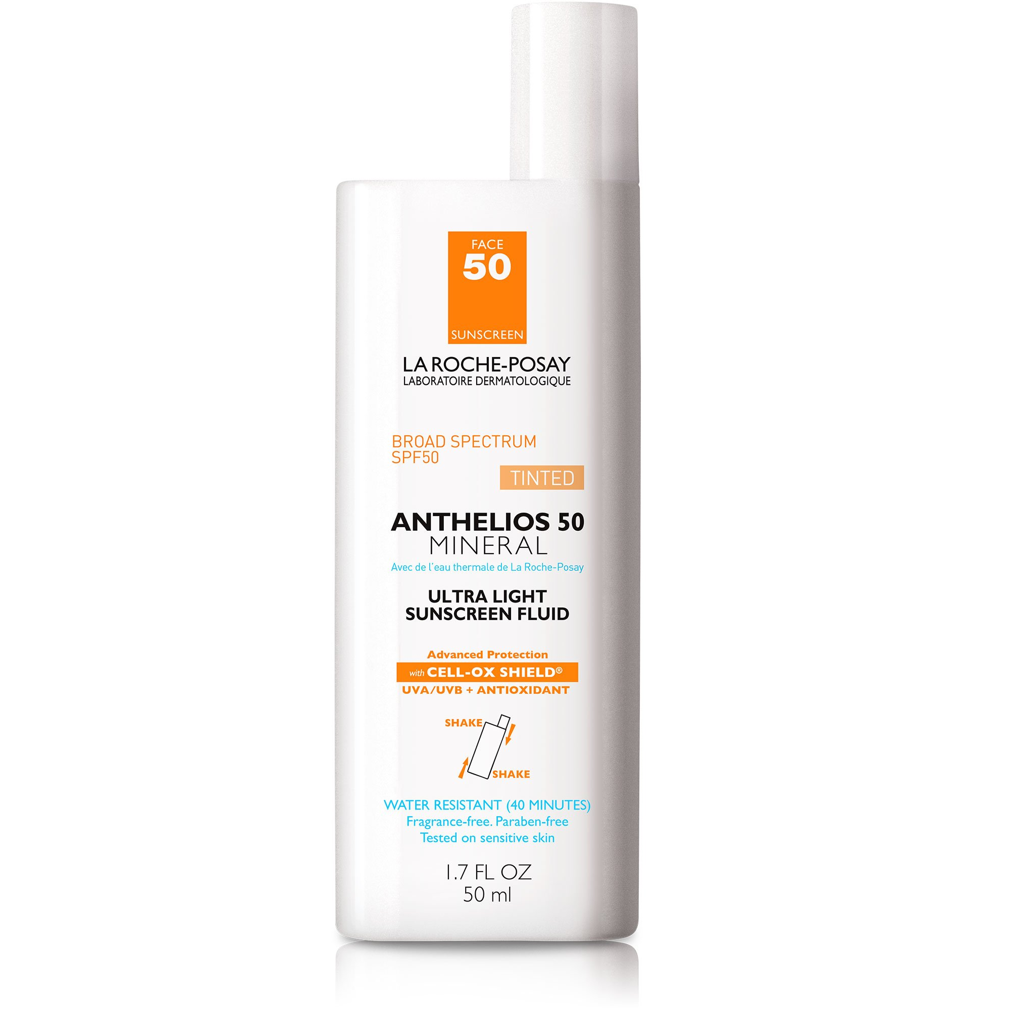 La Roche-Posay Anthelios Tinted Mineral Sunscreen for Face SPF 50, Ultra-Light Fluid with Titanium Dioxide for Sensitive Skin, 1.7 Fl. Oz. by La Roche-Posay