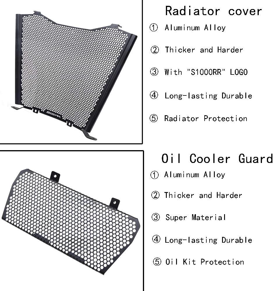 S1000RR 2019 2020 Motorrad K/ühlerabdeckung Aluminiumlegierung K/ühlerschutz Schutzgitter /& /Öl Kit-Schutz f/ür B.MW S1000RR S1000 RR 2019 2020-Schwarz