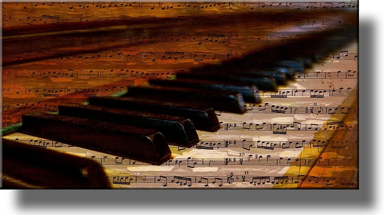 Piano Music Notes Vintage Picture on Stretched Canvas Wall Art Décor, Ready to Hang!