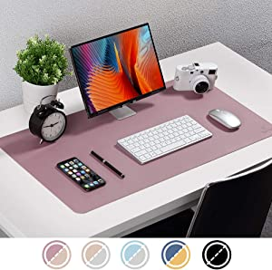 """Knodel Dual-Sided Desk Mat, New Design Desk Pad, Upgrade Sewing PU Leather Desk Blotter Protector, Mouse Pad, Writing Mat for Office and Home (31.5"""" x 15.7"""", Purple)"""