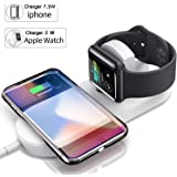 Magnetic Wireless Charger 2-in-1 Pad Stand Cable Compatible with Apple Watch, for iPhone X/8/8 Plus, Compatible with iWatch Series 1/2/3, 38mm 42mm, Samsung S8 Series, Note 8