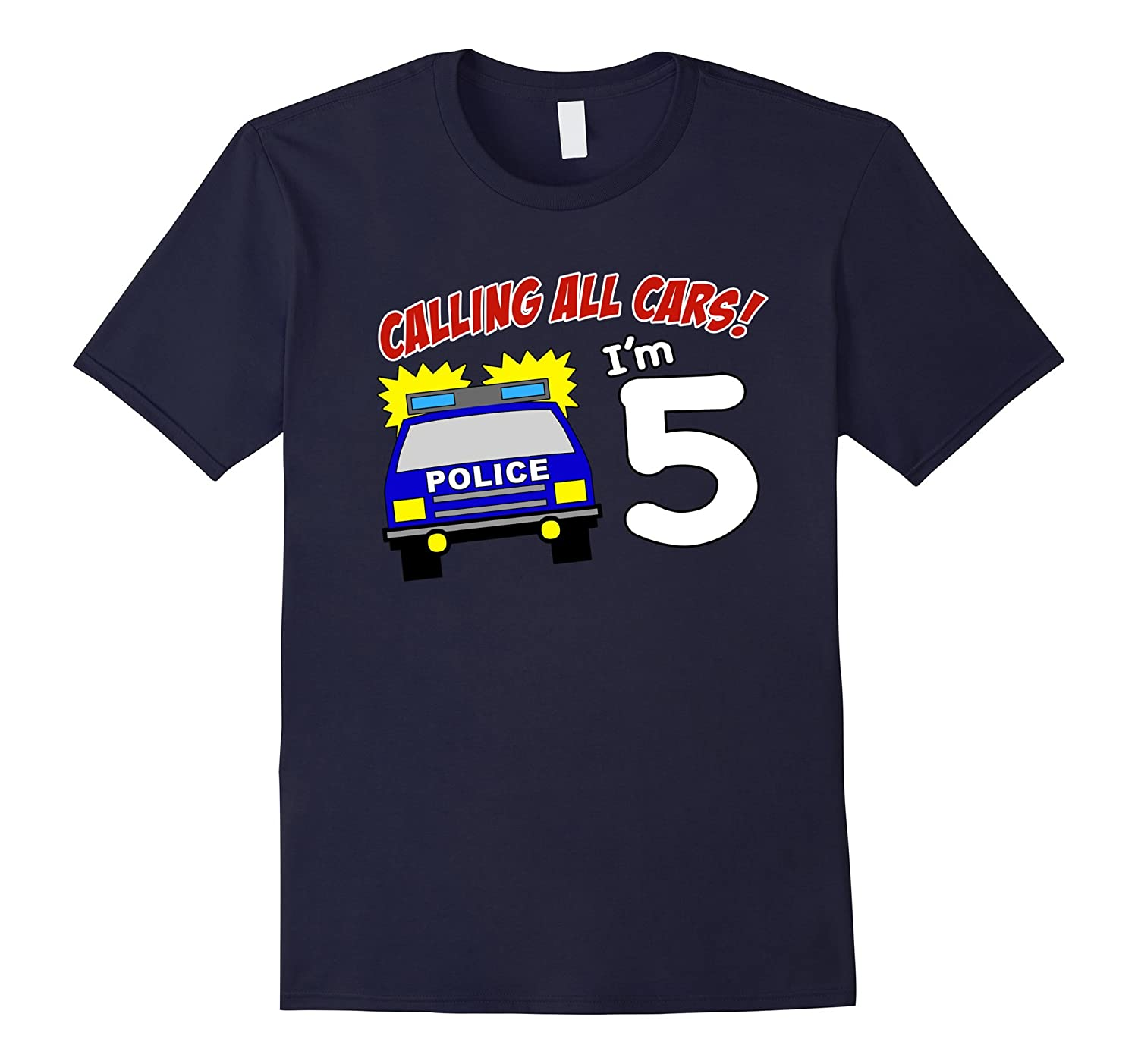5th Birthday Police Car T Shirt - 5 Year Old Officer Tee-TD