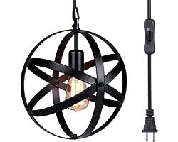 Pendant Light, Tomshin-e Plug in Hanging Light,Rustic Metal Chandelier Light Fixture for Kitchen Dining Room Farmhouse