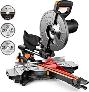 TACKLIFE Miter Saw, 10-Inch Sliding Miter Saw with Double Speed (4500 RPM & 3200 RPM), 3 Blades, Bevel Cut (0°-45°), Red Laser, Extension Table, Iron Blade Guard, 15 Amp Compound - EMS01A