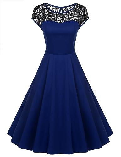 ACEVOG Women's Lace Crochet Sleeveless Cotton Vintage Tea Dress