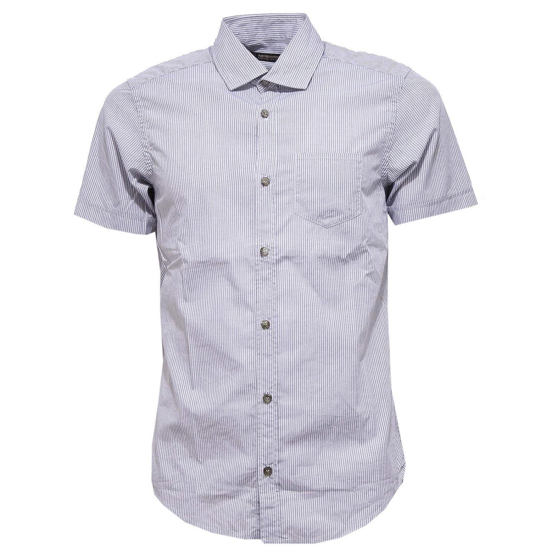 gris Bianco  Messagerie 3575X Camicia hommes manche courte Shirt Man gris blanc Cotton