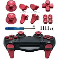 TOMSIN Metal Buttons for PS4 Slim/ PS4 Pro Controller, Aluminum Metal Thumbsticks Analog Grip & Bullet Buttons & D-pad…