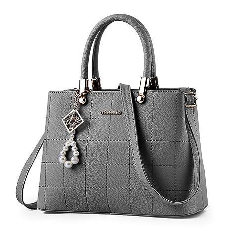41ff5cd117d64 BestoU handtaschen damen Schwarz groß Leder Damen Schultertasche Frauen  Umhängetasche (Grau)