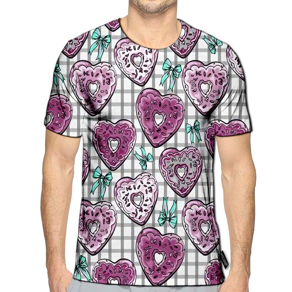 3D Printed T Shirts Donuts Heart Shape On Check Vintage Casual Mens Hipster Top Tees