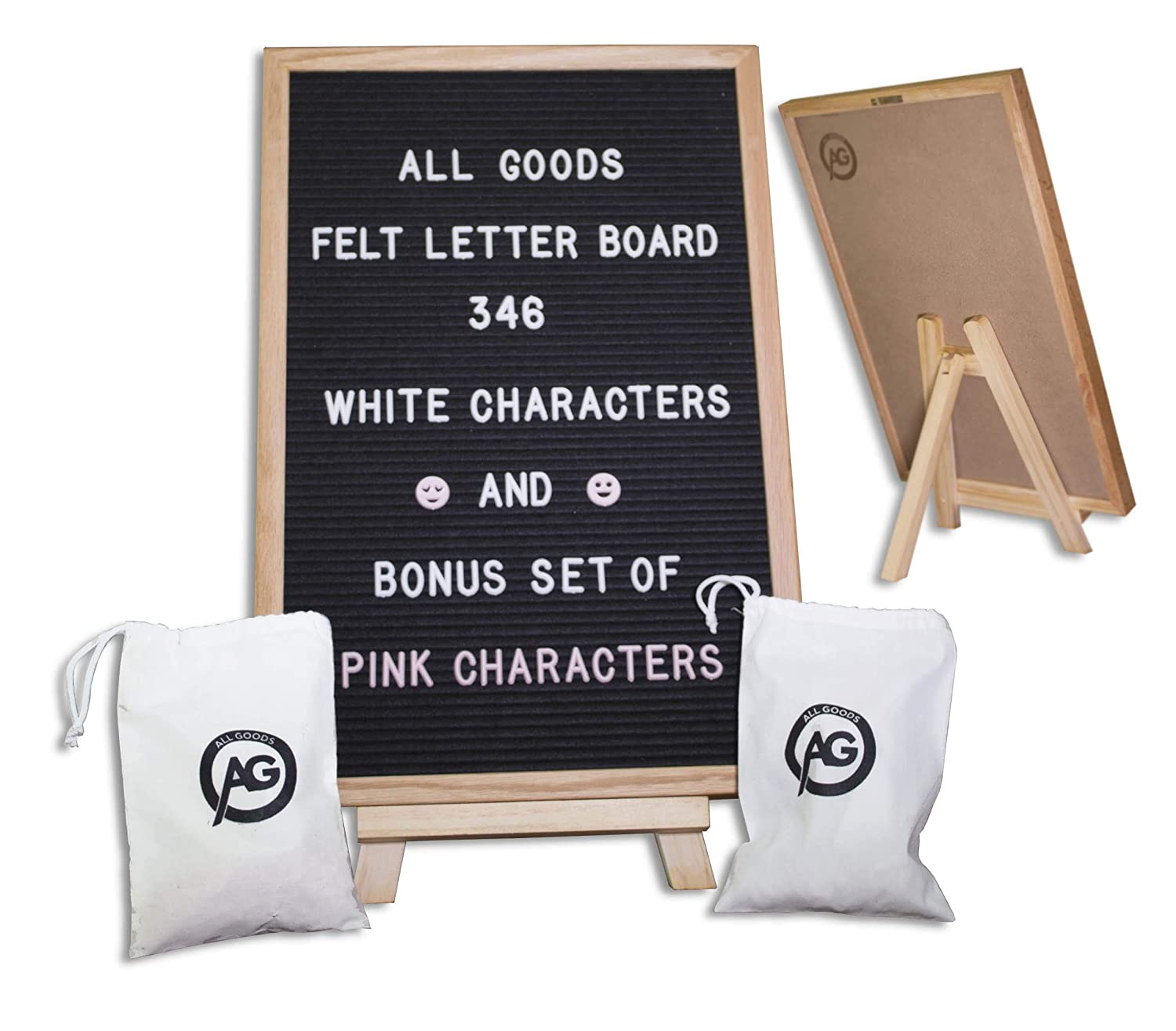 Felt Letter Board | 12x18 Inch Oak Frame & Black Felt | 346 White & 346 Pink Changeable Letters, Emojis, Bonus Drawstring Canvas Pouch, and Wood Stand All Goods