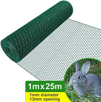 Amagabeli 1M X 25M Malla de Alambre Hexagonal 13mm Red Hexagonal Verde Valla de Jardín Metalicas Alambre HC05: Amazon.es: Jardín