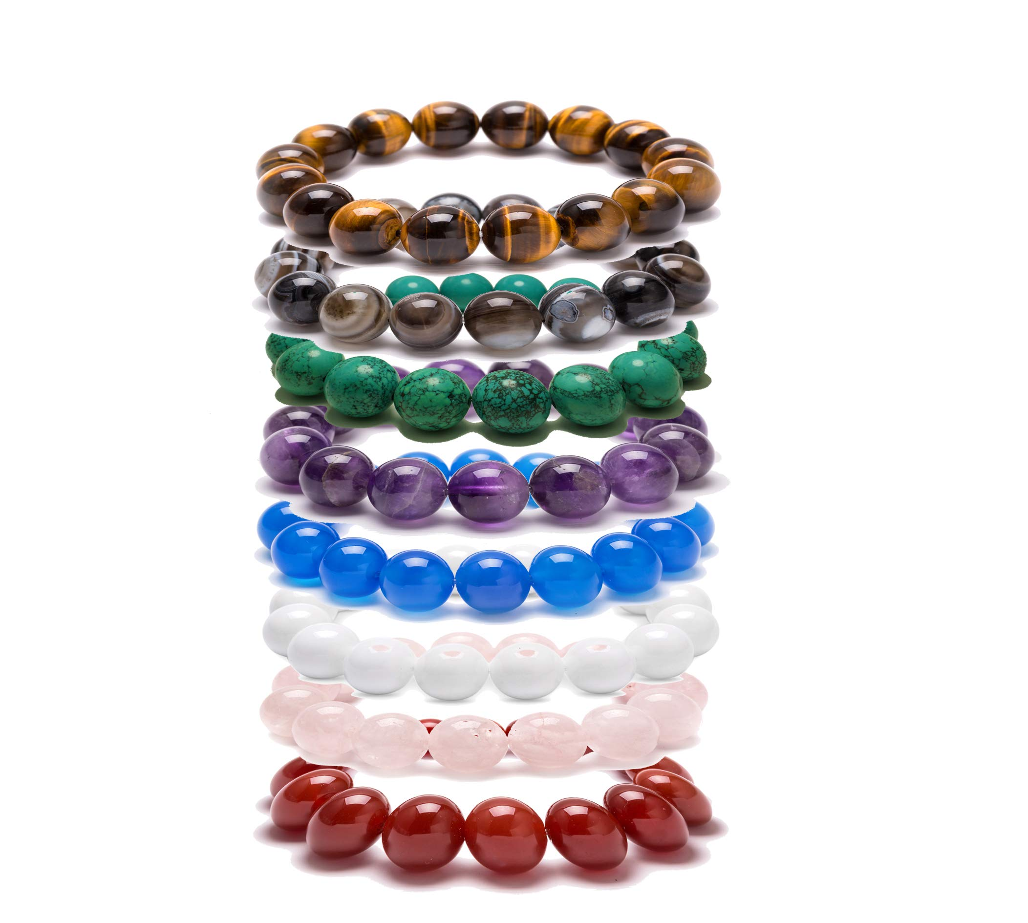FAR SELECTIONS Agate Beads Bracelet in Leather Jewelry Box Set Clear 12mm Beads Bracelet DIY with Beading Threads Set 8 color with a White Jewelry Box (8 color bracelet)