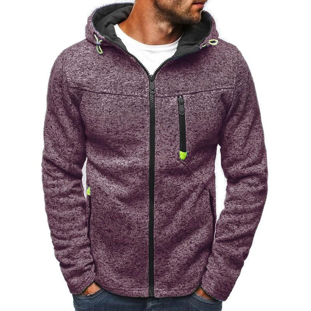 Mens Outdoor Lightweight Zip-up Hooded Sweatshirt Hycsen