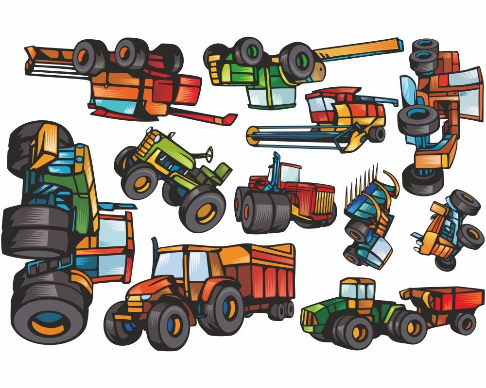 Tractor wall stickers multicoloured kamos sticker roar wall stickers source wall tattoo set 11 piece large tractor design combine harvester amipublicfo Gallery