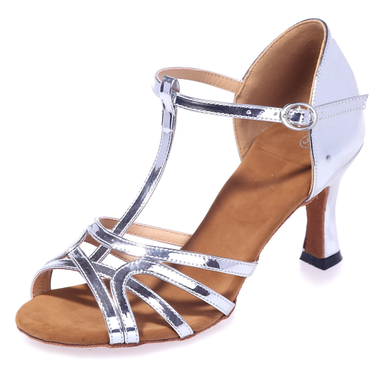 Elobaby Frauen Tanzschuhe Mit Peeptoes FlaROT Pailletten FlaROT Peeptoes Ferse Schnalle Sandalen / 7,5 cm Ferse Mit Silver 529214