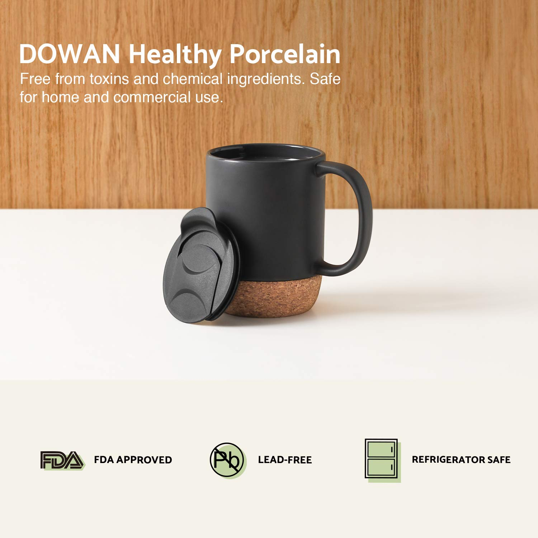 DOWAN 15 oz Coffee Mug Sets Matte Black with Insulated Cork and Splash Proof Mug Lid Set of 2 Large Ceramic Mugs