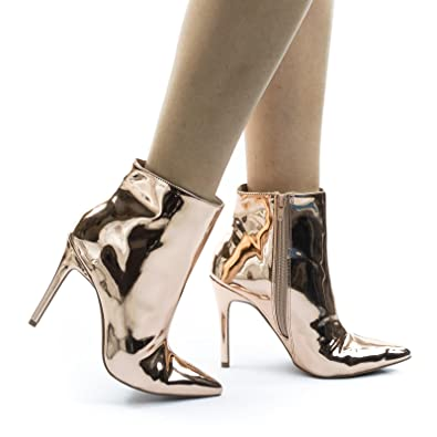 72992a900337 Wild Diva Pointed Toe High Heel Dress Ankle Bootie w Mirror Metallic Patent.  Roll over image ...