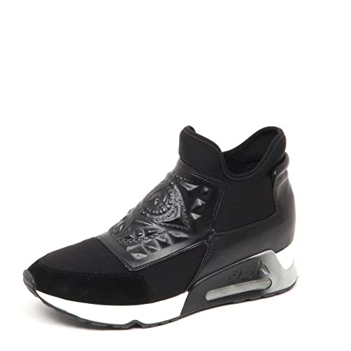 d5bb7b29488b57 Ash Footwear Laser Goth Black Neoprene and Leather Trainer  Amazon ...