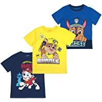Paw Patrol Nickelodeon Chase, Rubble and Marshall Boys' Short Sleeve T-Shirt (Pack of 3)