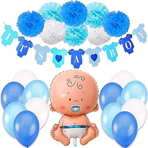 Baby Shower Globos 9 Pompones Mummy to be Faja y Confeti 18 Globos Vibury Baby Shower Decoraci/ón Decoraciones Fiesta de Bienvenida de Bebe Ni/ño Bandera Its A Boy
