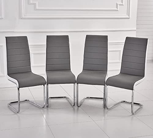 Kitchen Table And Chairs Amazon: Set Of 2 Premium Linen Fabric Dining Chairs Scroll High