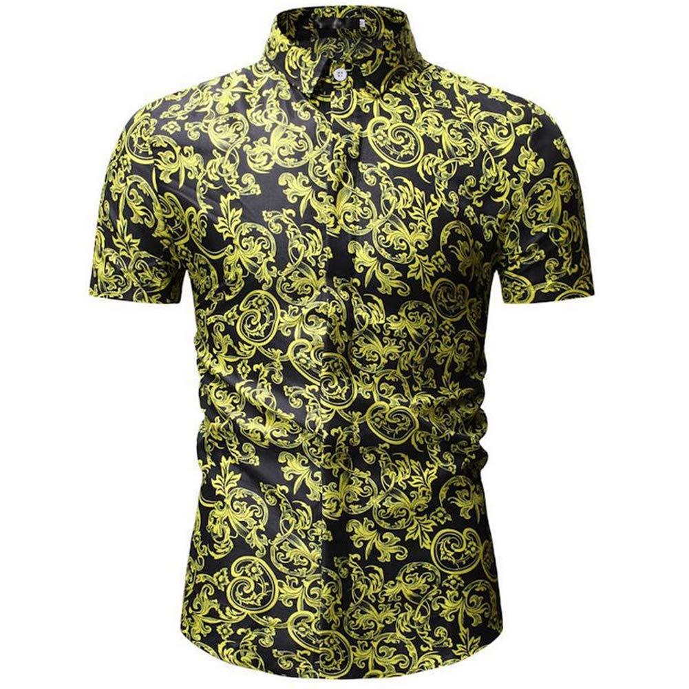 QHF Mens Hawaiian Printed Shirt Mens Summer Beach Shirt Short Sleeve Casual YS22-blue,XXL