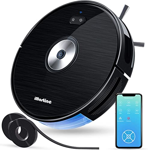 Robot Vacuum, Works with Alexa, Wi-Fi Connected, iMartine 1600PA Robotic Vacuum Cleaner, Smart Mapping Robotic Vacuum for Pet Hair, Hard Floors, Medium-Pile Carpets, Self-Charging, with Boundary Strip