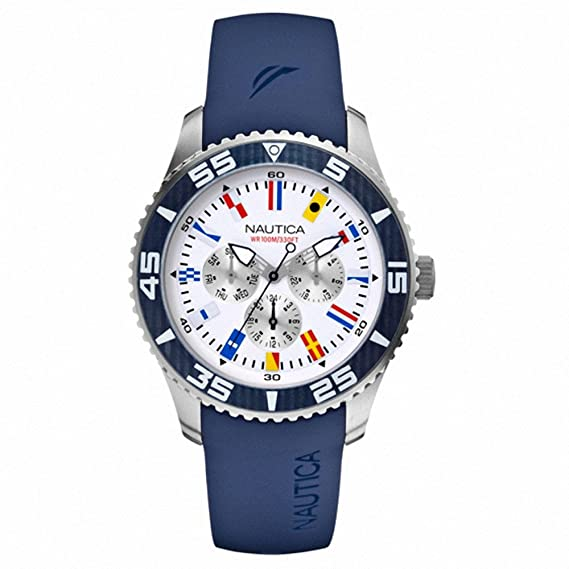 Nautica reloj hombre NST 07 Flags Multi White and Blue A12627G  Amazon.es   Relojes 9004919493e5