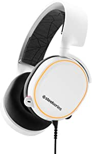 SteelSeries Arctis 5 (2019 Edition) RGB Illuminated Gaming Headset with DTS Headphone: X 7.1 Surround for PC, PlayStation 4, VR, Android and iOS, USB or 4-Pole 3.5mm - White | 61507 (PS4)