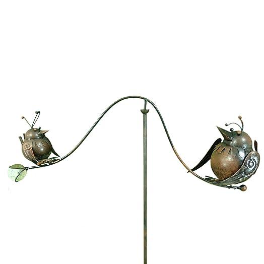 East2eden Spinning Balancing Big U0026 Small Birds Metal Garden Wind Spinner  Ornament