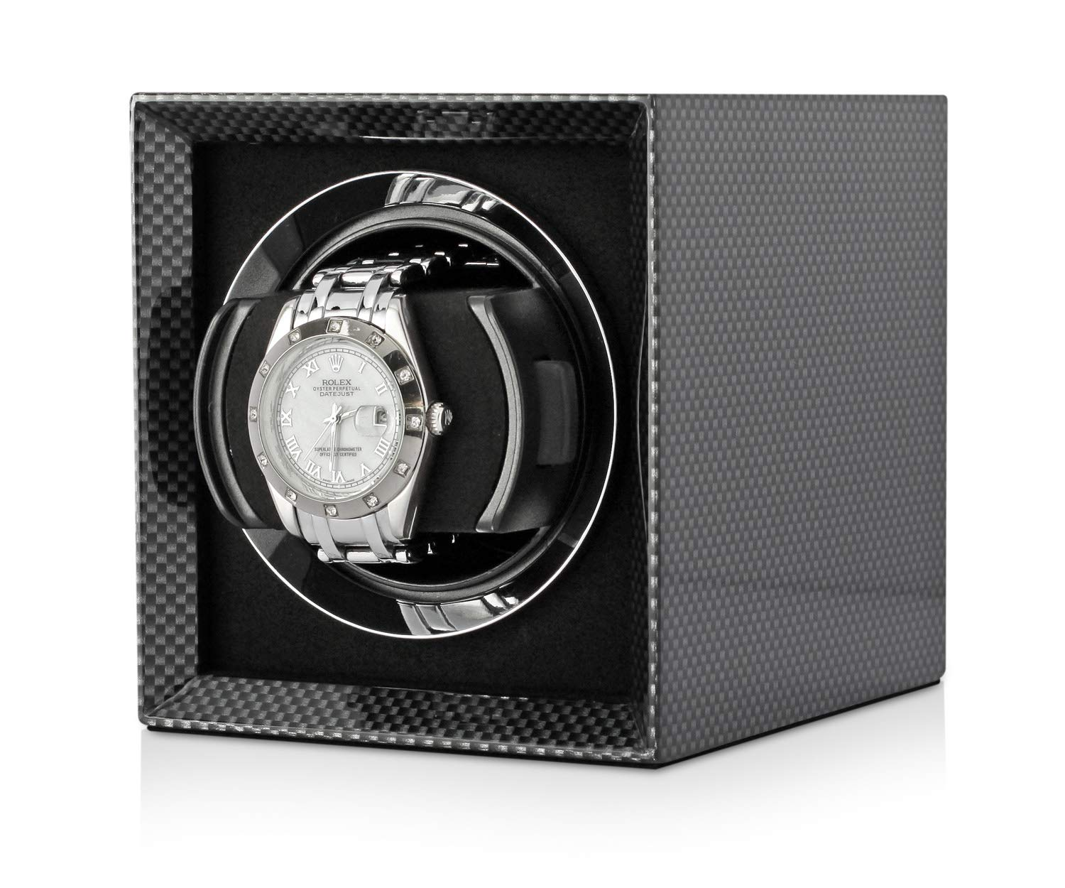 Compact Single Watch Winder Box for Winding 1 Automatic Watch with LCD Touchscreen Display and Rechargeable Battery for All Watch Brands and All Watch Sizes (Carbon)
