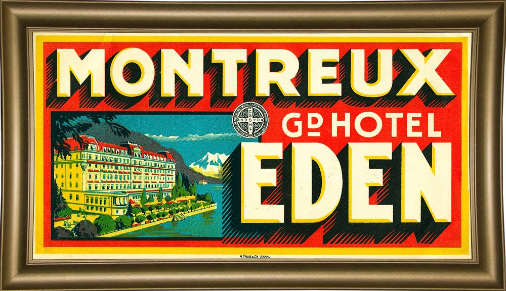 Frame USA Montreux Grand Hotel, Eden-PRIPUB129040 Print 13''x25.25'' by Print Collection in a Bistro Gold