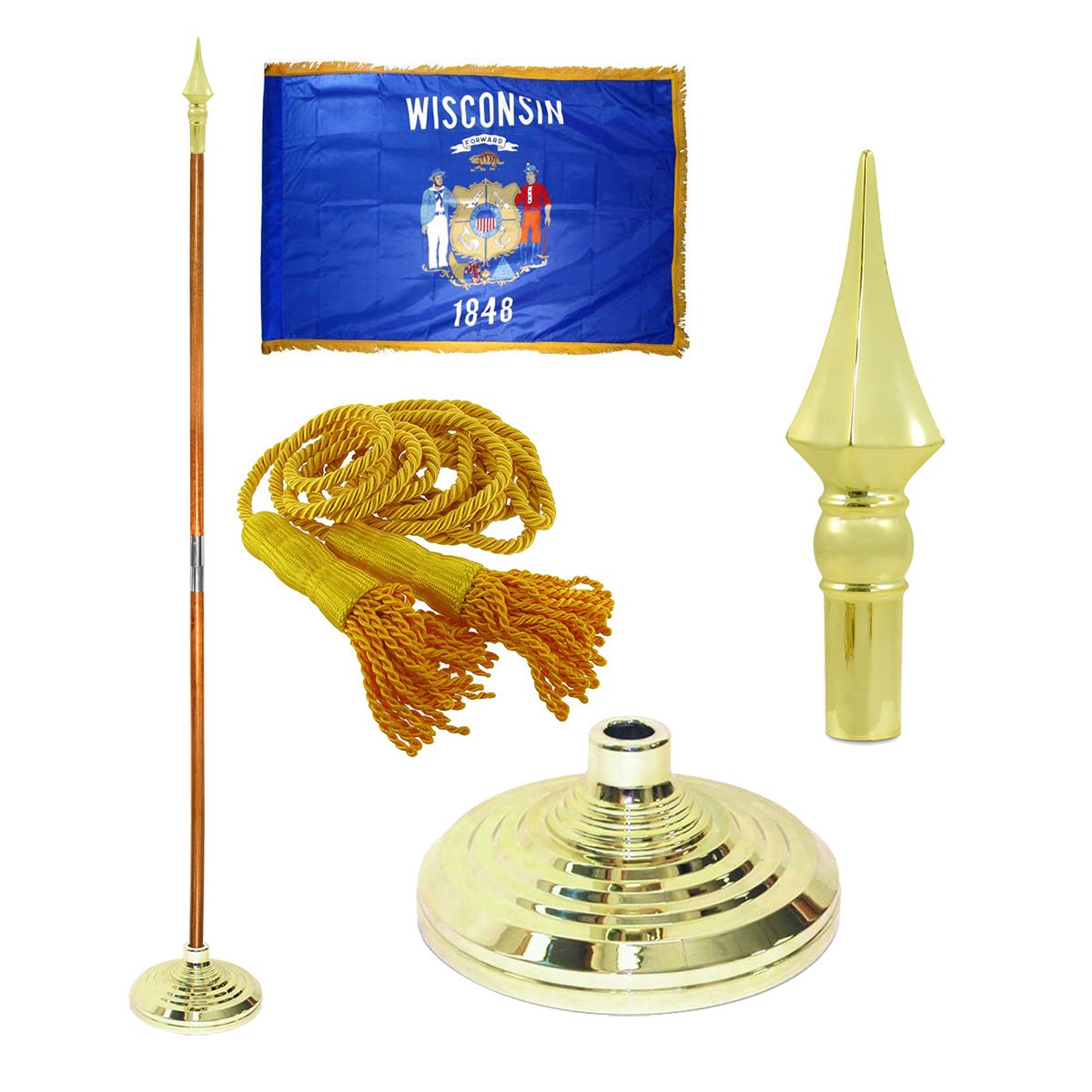 Wisconsin 3ft X 5ft Flag, Flagpole, Base, and Tassel (8 Ft Oak Pole, Plastic Spear) by Online Stores Inc