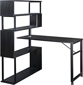 Merax L-Shaped Corner, Rotating Computer Table,Four Installation Methods,Lockable casters Desk, 70.8