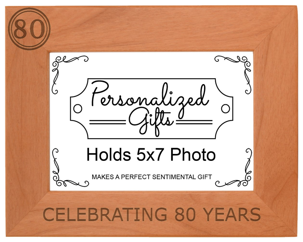 80th Birthday Gift Celebrating 80 Years Natural Wood Engraved 5x7 Landscape Picture Frame Wood