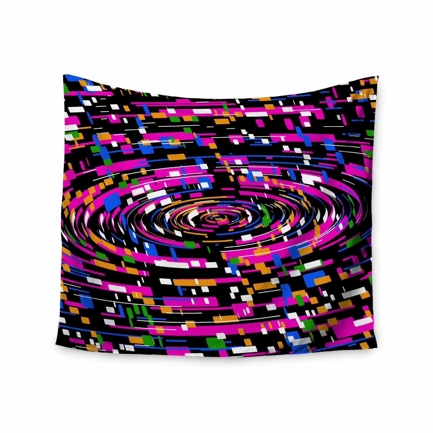 68 x 80 Wall Tapestry Kess InHouse Frederic Levy-Hadida Concentric Multicolor Pink Abstract Pop Art Digital Vector