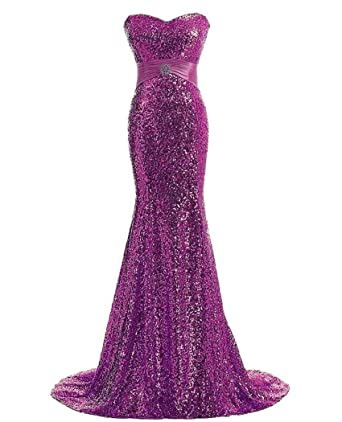 QiJunGe Womens Elegant Sequined Prom Dresses Cheap Long Party Evening Gown Fuchsia ...