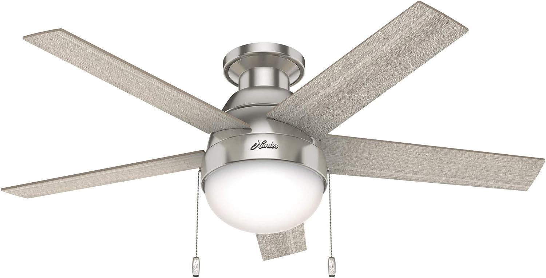 "Hunter Fan Company 50278 Hunter 46"" Anslee Low Profile Ceiling Fan with Light, Brushed Nickel"